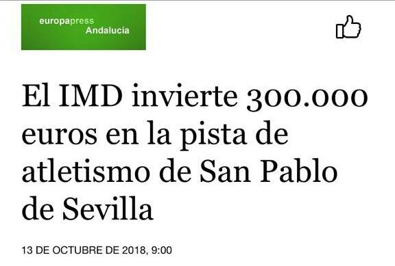 EL IMD invierte 300.000 euros en la pista de atletismo de SAn Pablo de Sevilla